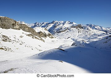 Winter landscape in the Aneou, Ossau Valley, Pyrenees National Park, Pyrenees, France