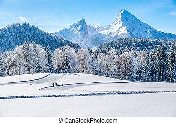 Winter landscape in the Bavarian Alps with Watzmann massif, Germany