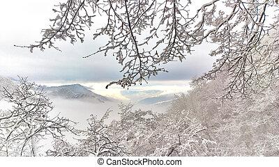 Winter landscape in the fairytale mountain