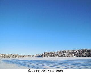 Winter landscape in the Karelia.