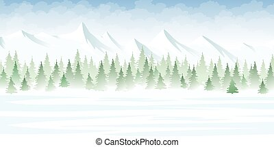 Winter landscape in the mountains
