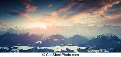 Winter landscape in the mountains.