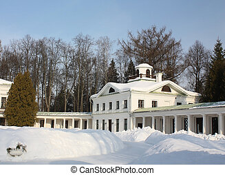 Winter landscape in the old time estate