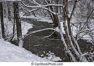 Winter landscape in the rural mountain village