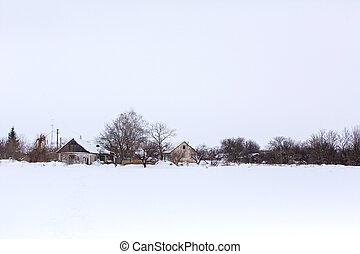 Winter landscape in the village.