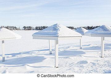 Winter landscape, Istra lake - Winter landscape in Russia,...