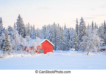 Winter landscape Kiruna Sweden - Winter landscape with house...