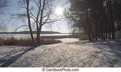 winter landscape lake on  the sunset