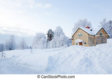 Winter landscape lapland Sweden - Winter landscape with ...