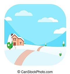 Winter Landscape Modern Conceptual Design Illustration Vector