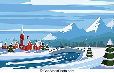 Winter landscape, mountains, river, bridge, village, trees in the snow, vector illustration