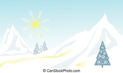 Winter landscape. Mountains, trees, snow descent from the mountain. Vector illustration