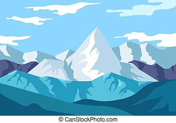Winter landscape, mountains view, snowy rocks and wild nature