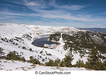 Winter landscape Neila lagoons park, in Burgos, Demanda mountain range, castilla y Leon, Spain.