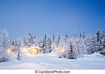 Winter landscape night - Winter landscape with cabin hut at ...