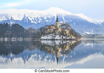Winter landscape of Bled Lake in Slovenia