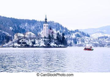 Winter landscape of Bled Lake, Slovenia - Winter landscape...