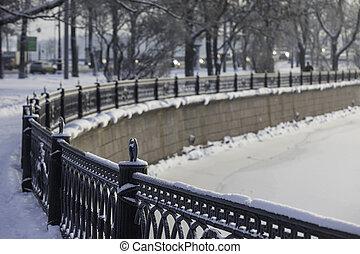 winter landscape of embankment, St. Petersburg, Russia