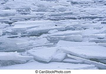 Winter landscape of frozen lake