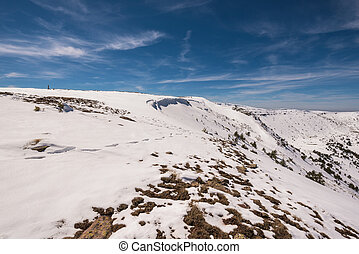 Winter landscape of Neila lagoons park, in Burgos, Demanda mountain range, castilla y Leon, Spain.