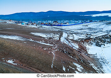 Winter landscape of Olkhon Island at Lake Baikal