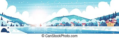 Winter Landscape Of Small Village Houses On Banks Of Froze River And Mountain Hills Covered With Snow Horizontal Banner Flat Vector Illustration