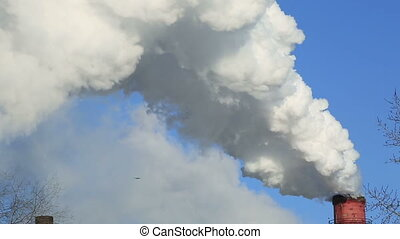 Winter landscape of smoke from the chimneys of plant against blue sky frosty misty day