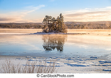 winter landscape on a small island