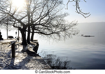 winter landscape on annecy lake, france