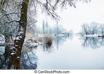 Winter landscape on Havel River (Germany)
