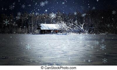 Winter landscape on the field