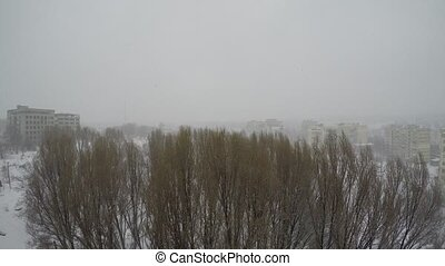 winter landscape on the outskirts of the city