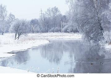 Winter landscape on the river.
