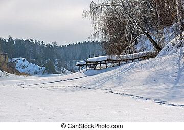 Winter landscape on the river. The river Separate, Novosibirsk oblast, Siberia, Russia
