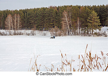 Winter landscape on the river. The Separate river ( a tributary of the Ob river )