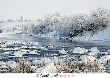 Winter landscape on the river