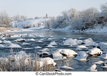 Winter landscape on the river