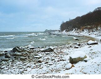 winter landscape on the sea