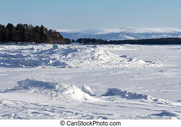 Winter landscape on the shores of the White Sea, Russia