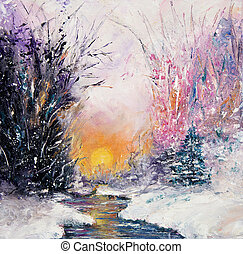 Original abstract oil painting of beautiful winter landscape on canvas. Winter scene. Modern Impressionism, modernism, marinism