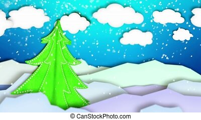 Winter Landscape Paper Scene Loop
