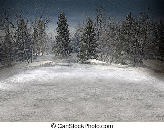 Winter landscape. - Winter landscape with copyspace for...
