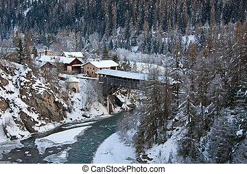 Winter landscape (Scuol - small village in swiss alps)