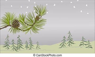 Winter landscape pine branch