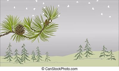 Winter landscape pine branch