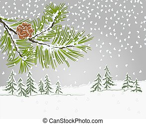 Winter landscape Pine branch with snow christmas theme vector