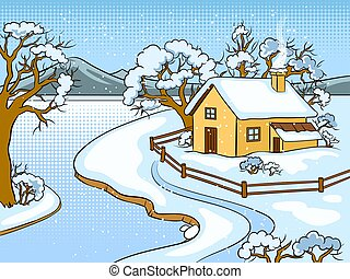 Winter landscape pop art vector illustration