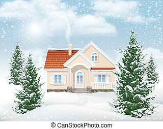 Winter landscape residential building - Winter rural...
