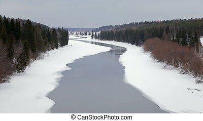 Winter landscape River