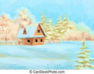 Winter Landscape Rustic House